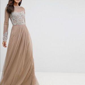 Long Sleeve Open Back Lace Detail Maxi Dress